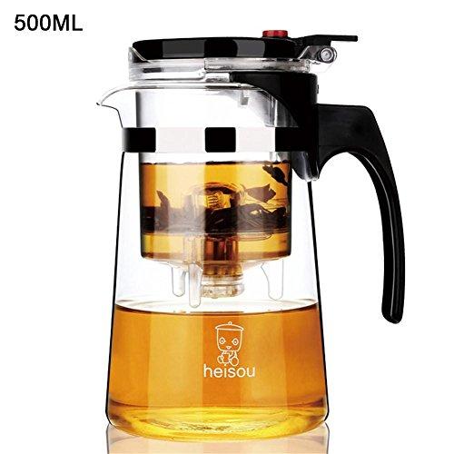 Seasaleshop Glasteekanne Hitzebeständige Teekanne mit Tee-losem Tee, hitzebeständiger Abnehmbarer Filter-Tee-Kunstglas 500ML/700ML.