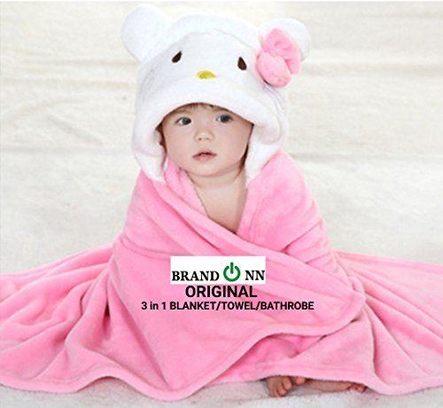 BRANDONN Ultra Soft Organic Premium Bathrobe Bath Gown For Babies Cum Baby Bath Towel(PINK-WHITE)