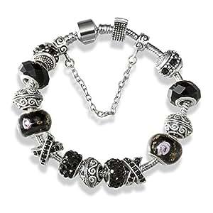 A TE® Bracciale Charms Nero Beads Cristalli Vetro Regalo per la Festa SKU:JW-B111 (18)