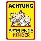 Hinweis-Schild Achtung spielende Kinder I hin_110 I Größe 40 x 60 cm I Warnschild Spielstraße Spielplatz I Vorsicht Kinder langsam fahren