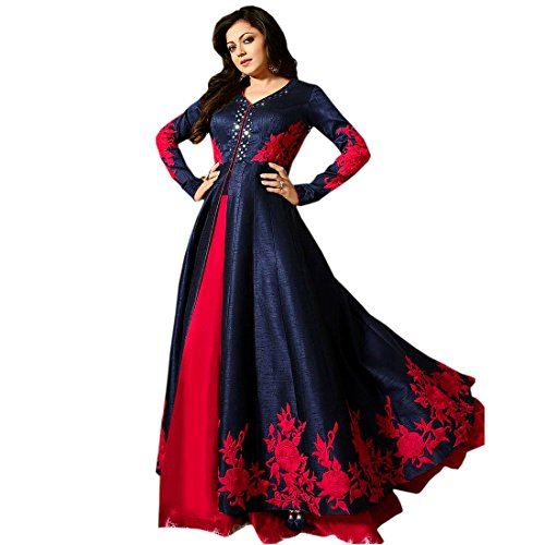 Bipolar Life Women\'s Blue Color Latest Fancy New Arrival Banglory Silk Fabric Anarkali Semi Stitched Salwar Suit Gown Dress Material ( Size_Free_Blue_Color)