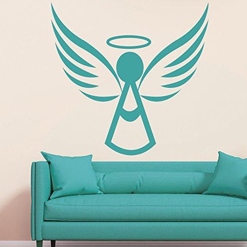 Engel mit Halo Umrisse den Himmel Engel und Flügel Wandsticker Heim Kunstabziehbilder verfügbar in 5 Größen und 25 Farben X-Groß Schwarz