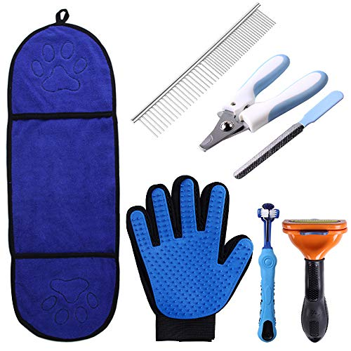 Pet Fellpflegeset, 7-teiliges Pflegeset für Hunde und Katzen - langes Haarkamm, Fellpflegehandschuh, saugfähiges Handtuch, Zahnbürste, Nagelknipser/Feile