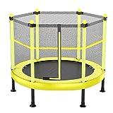 ZAQI Trampolino Resistente con Rete di Recinzione, Grande Tavolo di Salto di Esercizio piegante Muto per Bambini Ragazze Ragazzi Infantili, carico 300 kg (Color : Yellow, Size : 121 cm/48 inch)