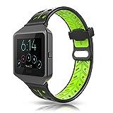 Fitbit Blaze Armband, YOUKESI Silikon Ersatzband Armband mit schwarzem Metallrahmen für Fitbit Blaze Smart Fitnessuhr Damen Herren (schwarz / grün)