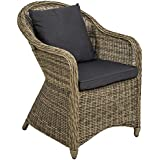 TecTake Luxury aluminium wicker chair seat armchair garden conservatory poly rattan natural   2 cushions
