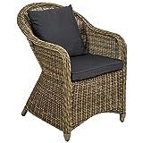 TecTake Aluminio silla de jardín sillón sofa de mimbre poliratán terraza con cojín de asiento y cojín del respaldo