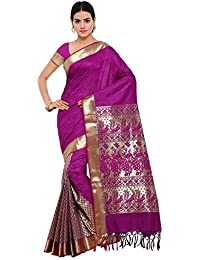 Varkala Silk Sarees Women's Art Silk Paithani Saree With Blouse Piece (AWHF1101PV_Purple_Freesize)