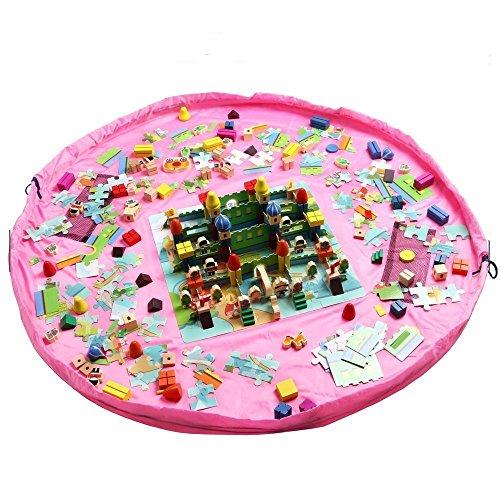 Toocoo 60inch Toy Storage Bag for Lego's Spielzeug Beutel Aufräumsack Spielzeugteppich für kinderzimmer Speicher Tasche& Aufbewahrung XL (Rosa)