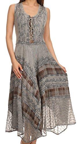 Sakkas Azalea - vestito in rayon stile corsetto con ricami-Grigio-S/M