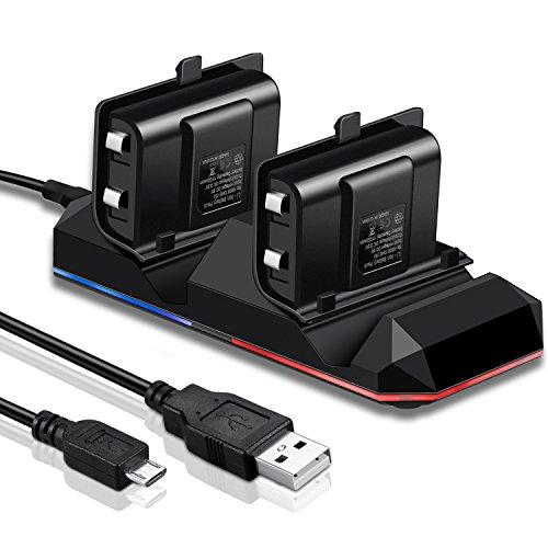 Chargeur Manette Xbox One KINGTOP Dual Station de Recharge avec 2 Batteries Rechargeables de 1200mAh et Câble USB pour Contrôleur Xbox One / S / X / El