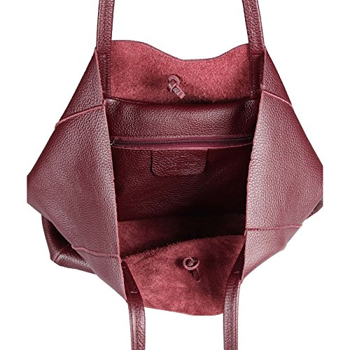 5e1a68bba5a0c ... OBC Made in Italy DAMEN LEDER TASACHE DIN-A4 Shopper Schultertasche  Henkeltasche Tote Bag Metallic