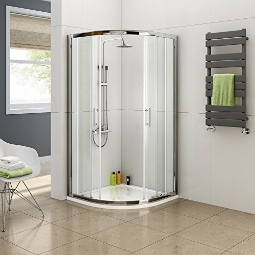 iBathUK 800 x 800 Quadrant 6mm Thick Sliding Glass Shower Enclosure with Tray + Free Waste