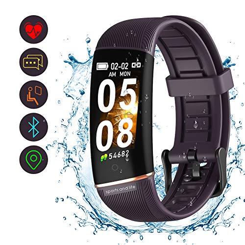 Fitness Tracker, orologio da attività impermeabile con cardiofrequenzimetro, conta calorie, contapassi monitoraggio del sonno, orologio di notifica delle informazioni per Android e iOS (porpora)
