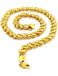 WUJO Gold Plated 20 Inches 22Ct Pure Gold and Rhodium Coated Chain Necklace for Man and Boys