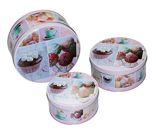 e Metall Keksdose Vorratsdose Blechdose Box Dosen 3er-Set Pastellfarbe Rosa ()