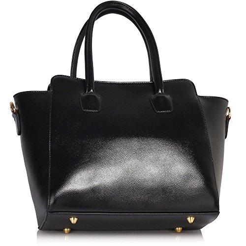 LeahWard® Femme Gret Élégance Sacs Épaule Tote Sacs À Main 149 Noir Bag