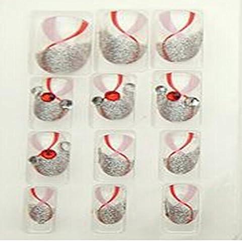 Evtech(tm) 24 PCS etiquetas del clavo de Bling Bling herramienta del arte floral blanco diamante perla del Rhinestone Crystal artificial francés Medio Falso Nails Lujo redonda de plata Jefe Nail Art puntas de Transparencia Moda Estilo Glitters
