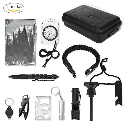 Outdoor Survival Kit, Yissvic 11 in 1 Außen Survival Set Multifunktions Notfall Selbsthilfe Werkzeuge mit Klappmesser, Feuerstarter, Kompass, Taschenlampe, Whistle, Rettungsdecken usw. für Reisen Outdoor Camping Wandern NotÜBerlebens