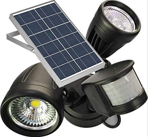 FENNGG 1400LM LED Luz Solar de Seguridad de Sensor de Movimiento con 2 Cabezales de luz Ajustables, Impermeable IP65, Uso al Aire Libre como Entradas, Patios, Garajes, etc,Warmlight