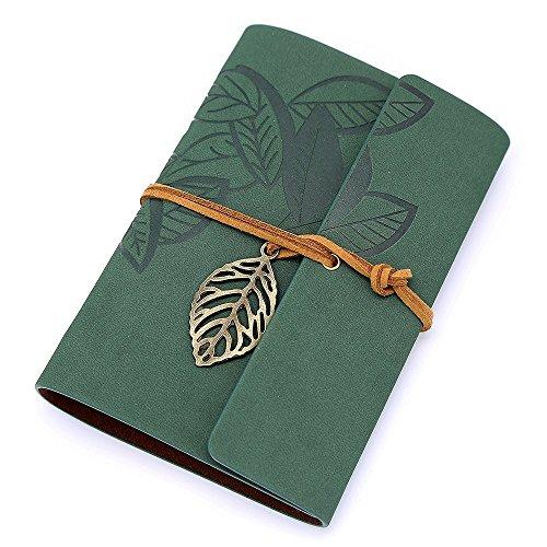 QHGstore Vintage foglia verde scuro Pu cuoio della copertura del diario del taccuino ufficiale String