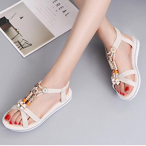 Transer® Damen Flach Sandalen Elastischer Fesselriemen Perlen Rot Schwarz Beige Strand Sandale (Bitte achten Sie auf die Größentabelle. Bitte eine Nummer größer bestellen. Vielen Dank!) Beige