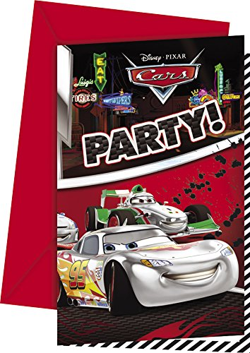 Disney 71438 Silber Edition Disney Cars Einladungskarten (Lightning Mcqueen Packs Party)