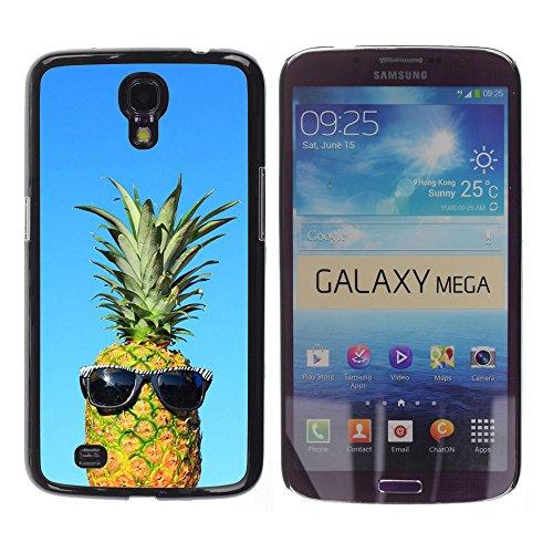 YOYOYO Schwarz Hart Verteidiger Handy Schutz Hülle Bild Etui Case Schale Cover für Samsung Galaxy Mega 6.3 I9200 SGH-i527 - cool blue Ananas Dude Unkraut 420