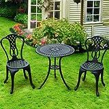 Aluminium Bistro-Set von Homcom, 3Teile, Tisch und Stühle, für die Terrasse, den Garten usw, Shabby Chic-Stil