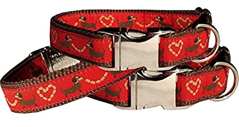 Halsband Dackel Teckel rot Hundehalsband Nylon Halsung Band ALU Schnalle 29 - 44 cm x 2,0 cm