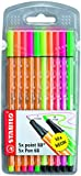 STABILO Pen 68 Neon and point 88 Neon mixed Wallet of 10