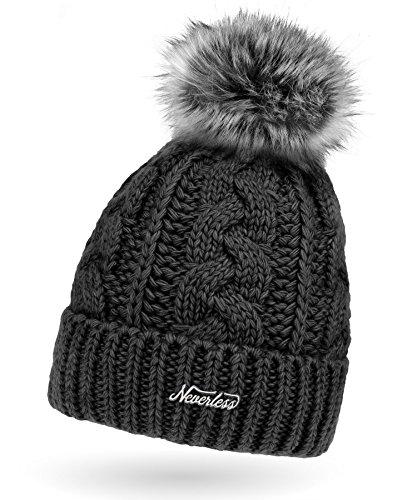 b158e7c607a82b Damen Strick-Mütze gefüttert mit Fell-Bommel, Kunstfell, Winter-Mütze,