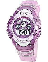 Panegy - Reloj Digital Deportivo Nocturno Luminoso Impermeable para Niños niñas Estudiantes - Violeta