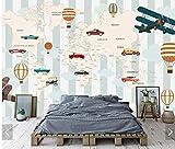 LONGYUCHEN Benutzerdefinierte 3D Silk Wandbild Wallpapers Air Heißluftballon Flugzeug Weltkarte Kinderzimmer Kindergarten Spiel Zimmer Dekoration Wandbild,260Cm(H)×460Cm(W)
