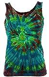 Guru-Shop Farbenfrohes Goa-Batik Tanktop, Batiktop, Damen, Petrol/bunt, Baumwolle, Size:36, Tops, T-Shirts, Shirts Alternative Bekleidung