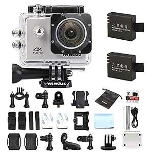 WiMiUS Action Cam, Sport Action Camera 4K HD WIFI 16MP Fotocamera Subacquea Impermeabile 30M 170° Grandangolare con kit di Accessori e 2 Batterie (Q1-Argento)
