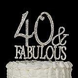 """Decorazione per torte con la scritta in lingua inglese """"40& Fabulous"""" per la festa di compleanno dei 40 anni 40 and Fabulous Silver"""