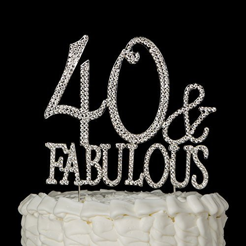 Decoración para tarta con texto en inglés «40 & Fabulous»,decoración para fiesta de cumpleaños
