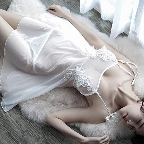 lightmhy Erotische Baby Dolls & Negligees Fun-Unterwäsche Lace Strap Nachthemd weiblichen Sommer und Winter Plus Größe sexy Pyjamas transparentem Tüll sexy Dessous Erwachsenen weißen Einheitsgröße - 3