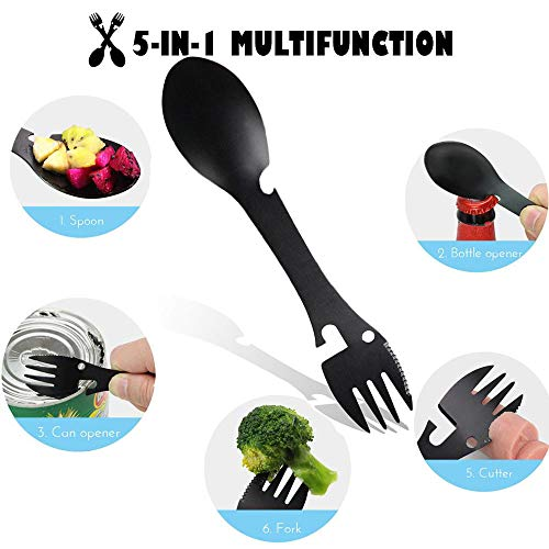 MOGOI - Cucchiaio da campeggio 5 in 1, multifunzione, in acciaio inox, utensile da campeggio, coltello, cucchiaio, forchetta, apribottiglie