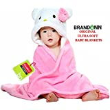 Brandonn Premium Hooded Baby Blanket for Babies, (Pink/White)