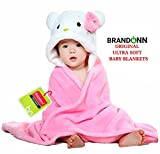#3: Brandonn Premium Hooded Baby Blanket for Babies (Pink/White)