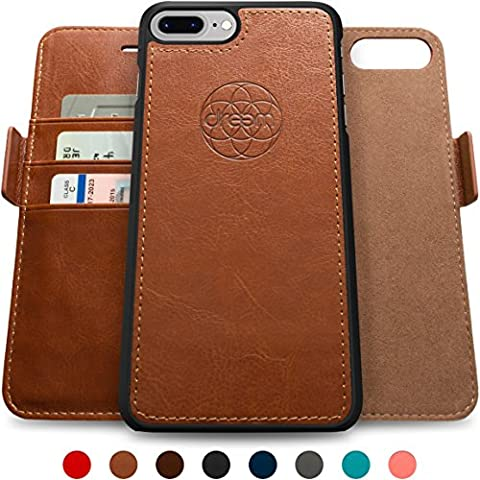 Coque + étui portefeuille magnétique Dreem Fibonacci pour iPhone 7 Plus, protection RFID, 2 positions possibles, en simili-cuir haut de gamme, dans un emballage cadeau -