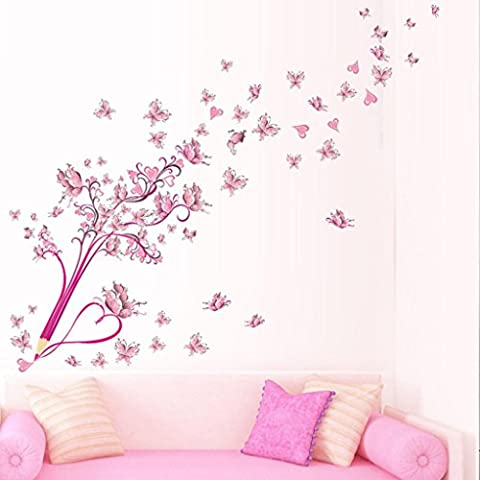 Kingko® New Pink Tower Butterfly Flower Fairy Decorations Wall Sticker Home Shop Decals Removable Decor (B)