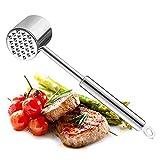 Haolgo Fleischklopfer, Fleischhammer Rostfreier,Spülmaschinenfester Fleischklopfer aus Edelstahl (Silber)