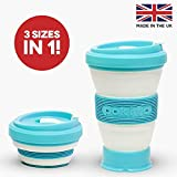 Sky Blue Collapsible Coffee Cup - A Reusable Folding Travel Mug That Fits in Your Pocket or Bag - Leak Proof With 3 Adjustable Sizes To Suit Your Needs - Replace Takeaway Cups With This Perfect Gift For Coffee Lovers - By Pokito