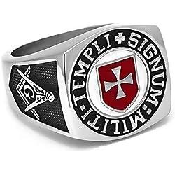 BOBIJOO Jewelry - Anillo Anillo Anillo De Hombre Masón Templario De La Cruz Roja Templi Signum Militi - 31 (14 US), Acero Inoxidable 316