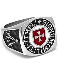 BOBIJOO Jewelry - Anillo Anillo Anillo De Hombre Masón Templario De La Cruz Roja Templi Signum Militi