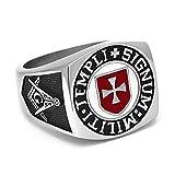 BOBIJOO Jewelry - Ring Siegelring Mann Freimaurer Templer Rotes Kreuz Signum Templi Militi - 19,1 (9 US), Edelstahl 316