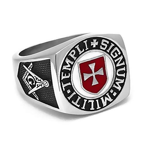 094b3a3a1e16 BOBIJOO Jewelry - Anillo Anillo Anillo De Hombre Masón Templario De La Cruz  Roja Templi Signum